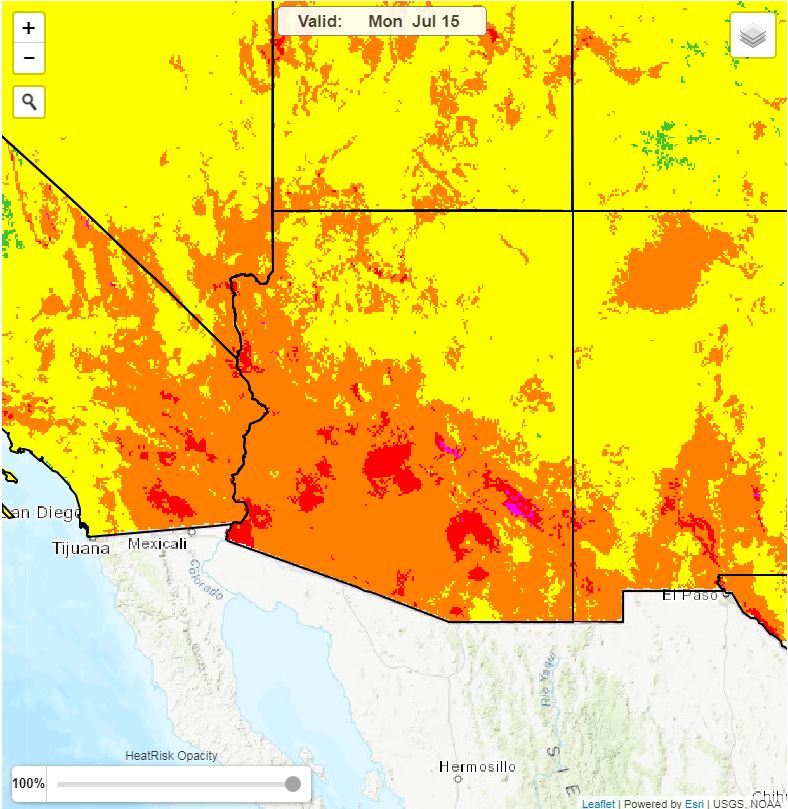 The image shows a National Weather Service Heat Risk map for Arizona on July 15, 2019. The map shows orange, red, and magenta heat areas.