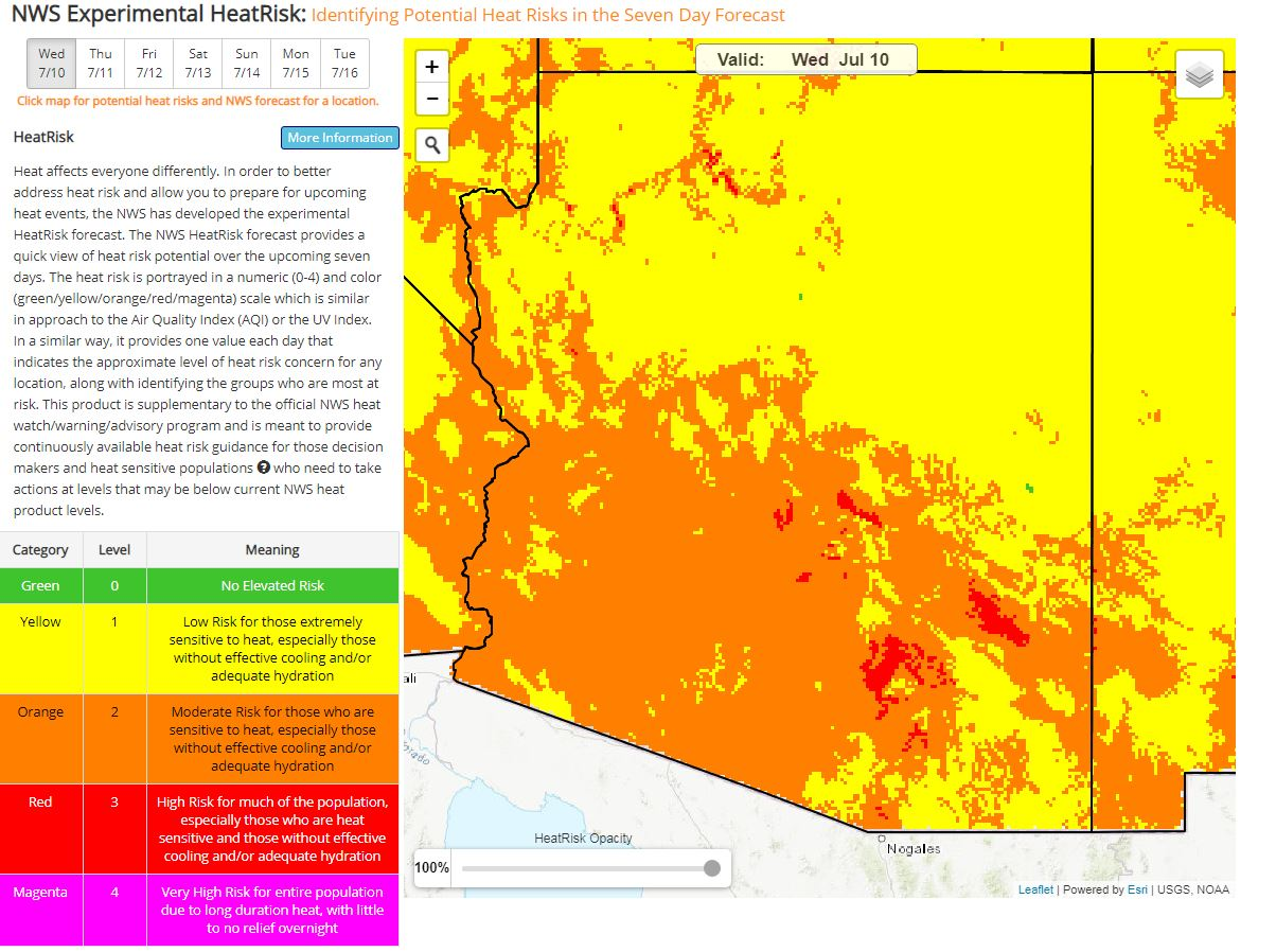 The image shows a heat risk map for the state of Arizona produced by the National Weather Service.