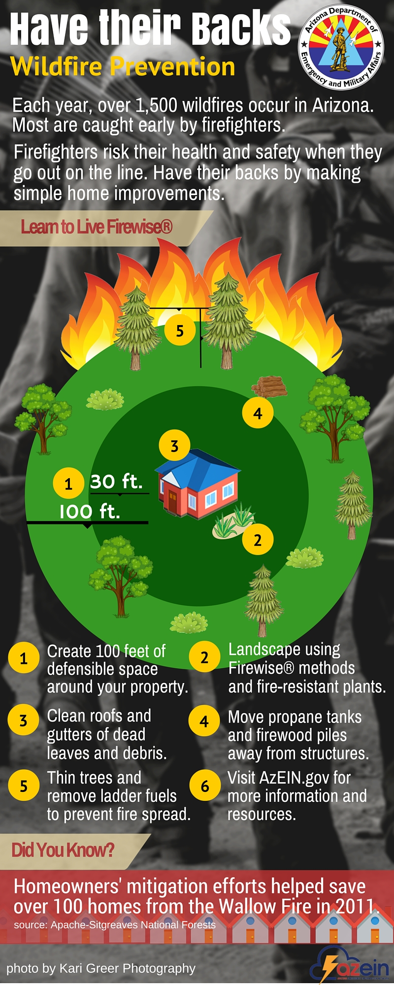 Infographic depicting what people can do to reduce the impact of wildfire on homes and businesses.