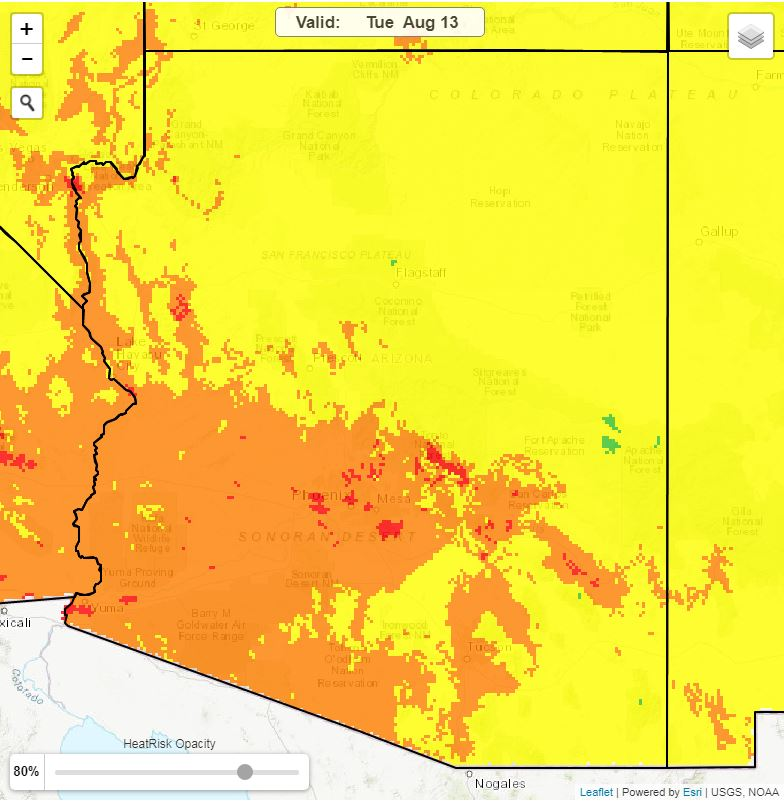 The image shows a heat risk map for the state of Arizona for August 13, 2019.