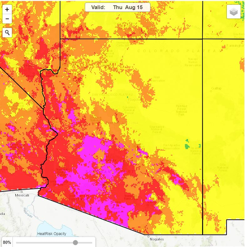 The image shows a heat risk map for the state of Arizona produced for August 15, 2019.