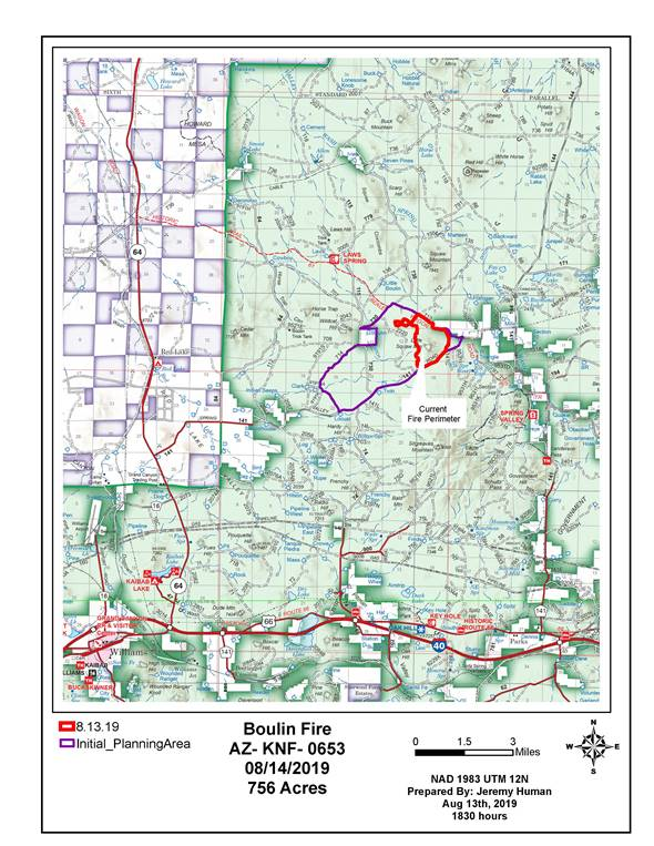 The image shows a map demonstrating the areas affected by the Boulin Fire. This map is produced by the Kaibab National Forest.