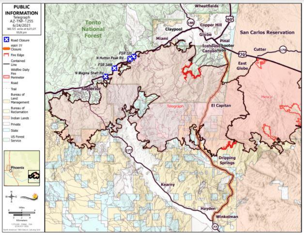 Telegraph Fire Map 6-24-21