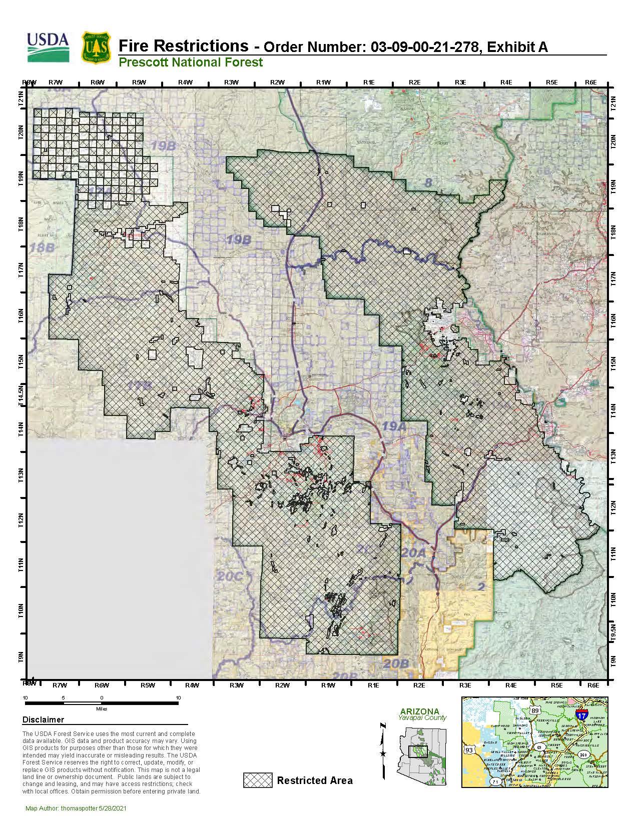 Prescott National Forest Restrictions Map