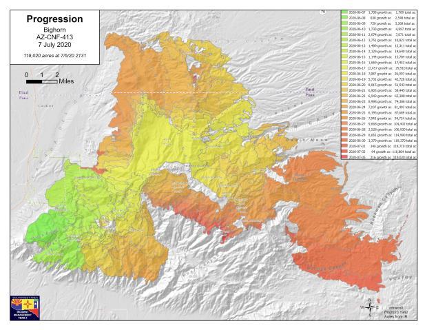 Bighorn Fire progression map 070720