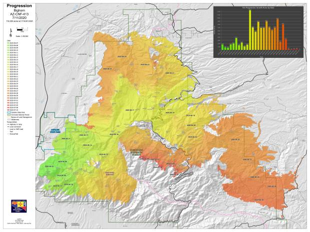 Bighorn Fire progression map 071120