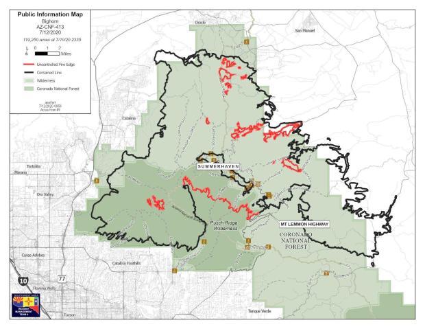 Bighorn Fire map 071220
