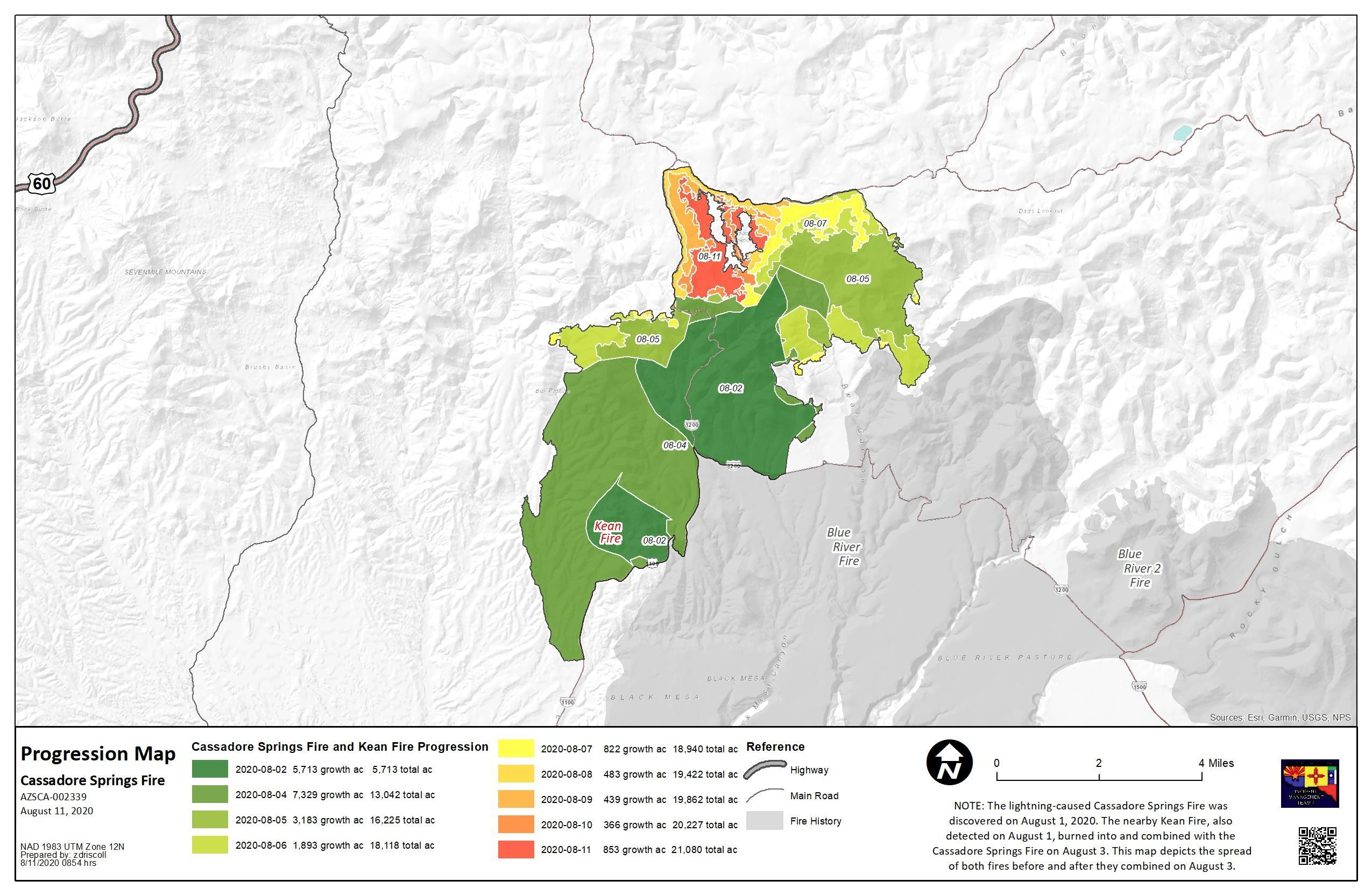Cassadore Springs Fire map 081120