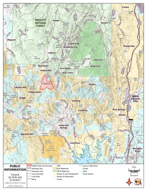 Tussock Fire information map