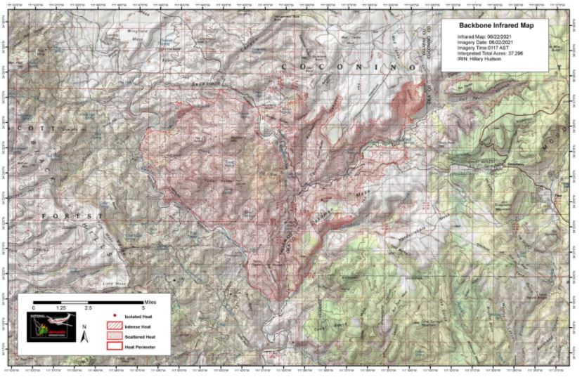 Backbone Fire Infrared Map 6-22-21