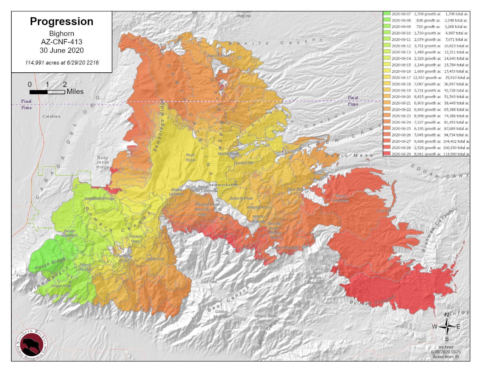 Bighorn Fire Map 6-30-20