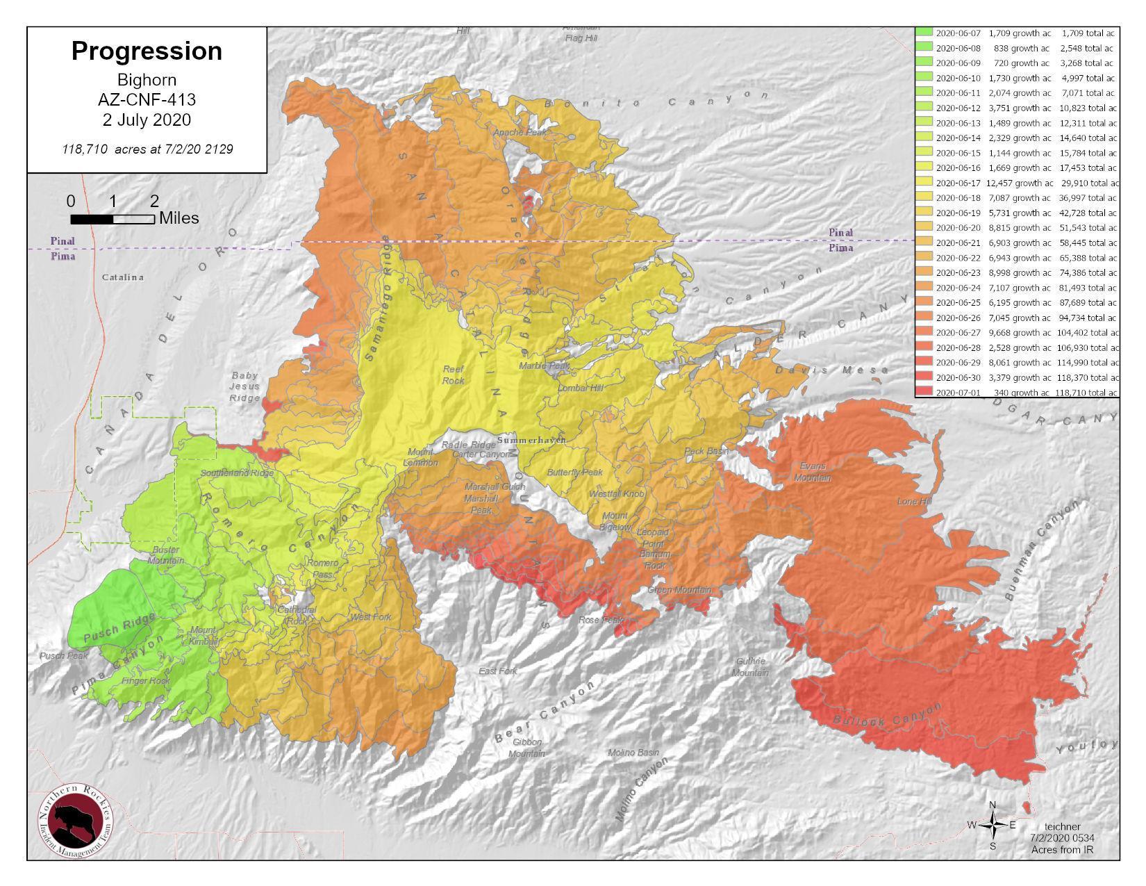 Bighorn Fire Map 7-2-20