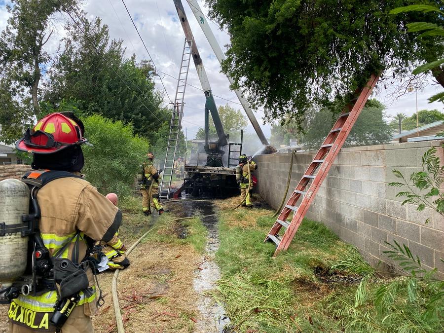 Yuma bucket truck fire