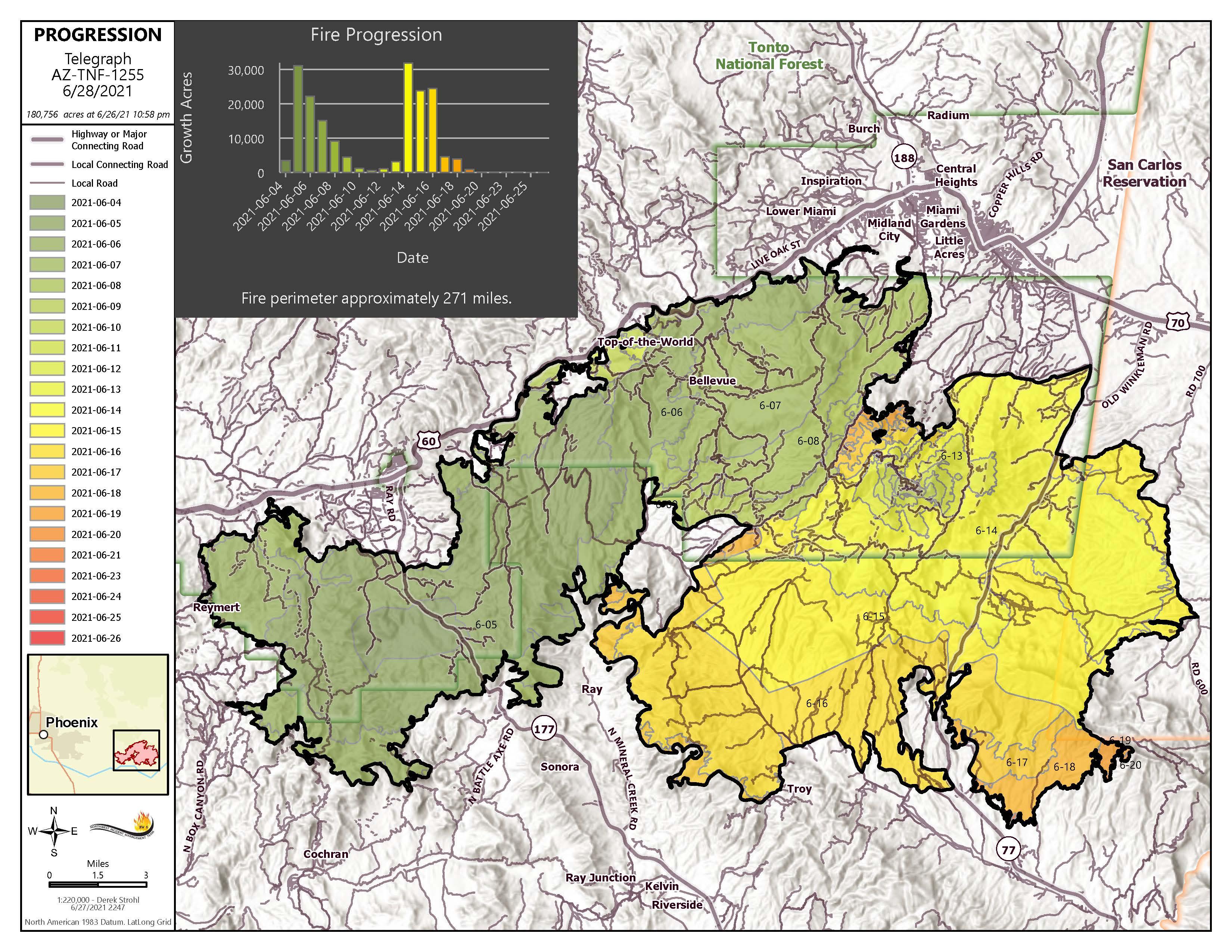 Telegraph Fire map Junw 28 2021
