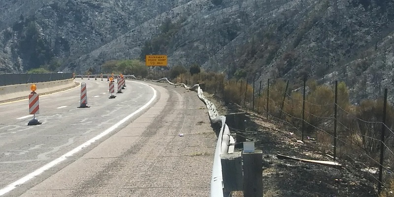 Photos of fire damage on SR 87 heading north