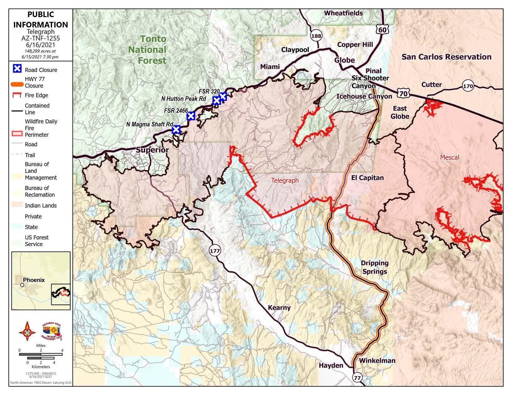 Telegraph Fire Map 6-16-21