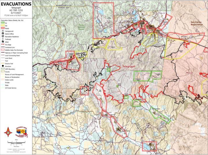 Telegraph Fire Map 6-17-21