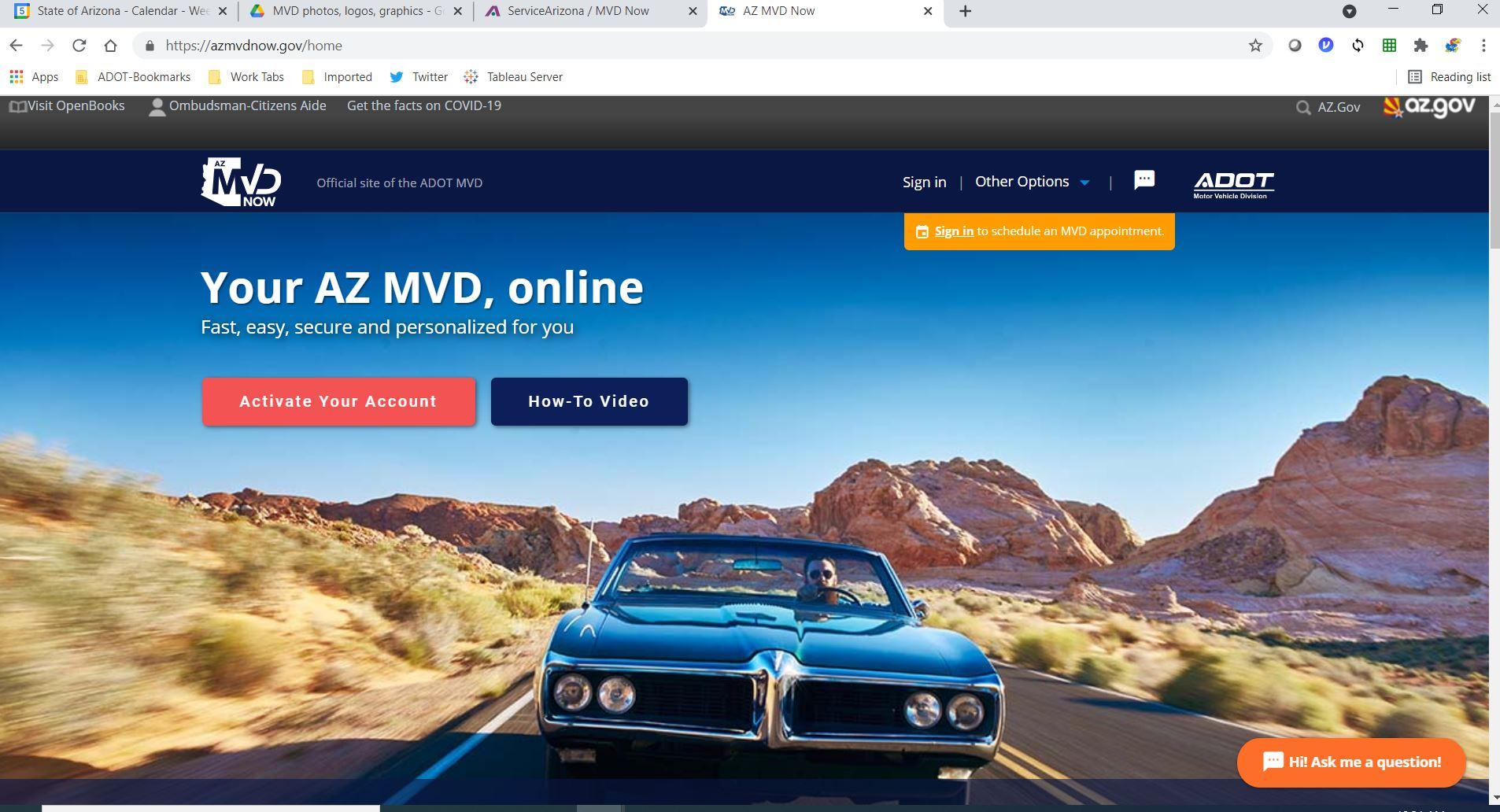 Screenshot of azmvd website