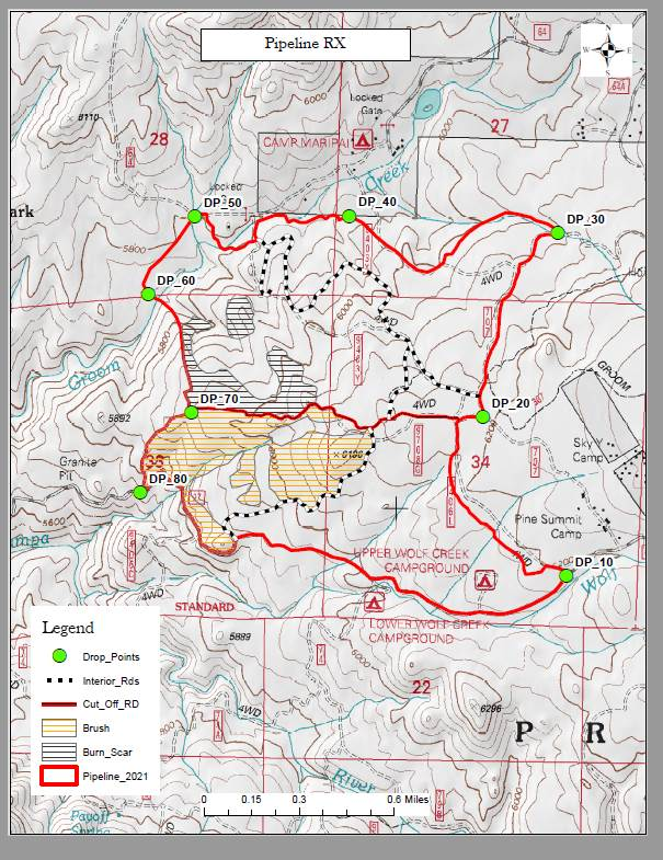 A map of affected areas of the Pipeline RX.