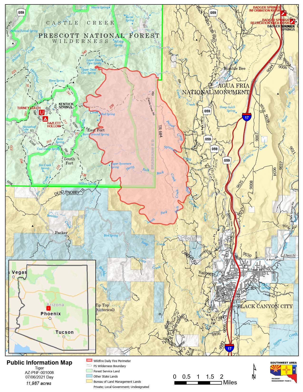 Map of Tiger fire July 6 2021