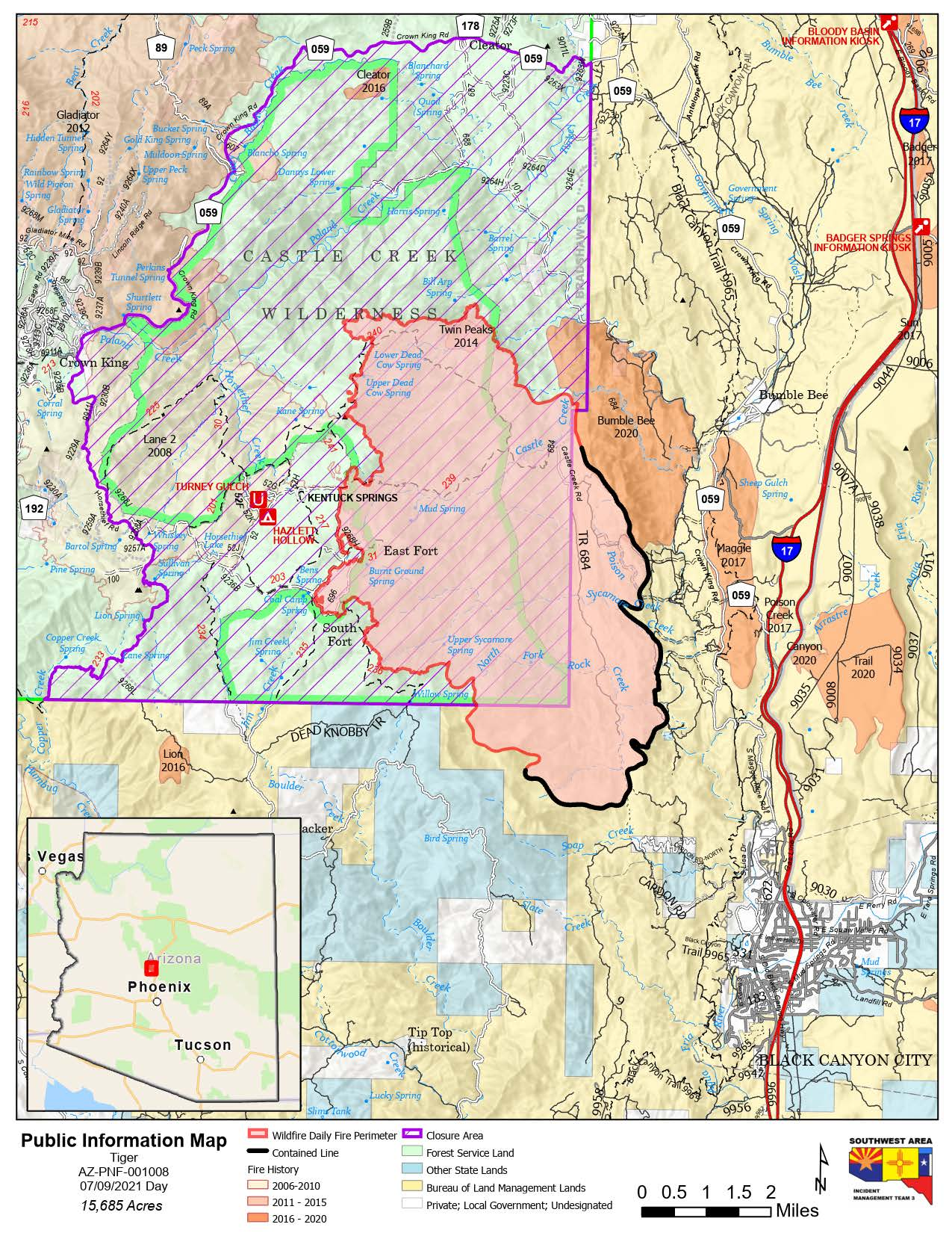 Map of Tiger fire July 9 2021