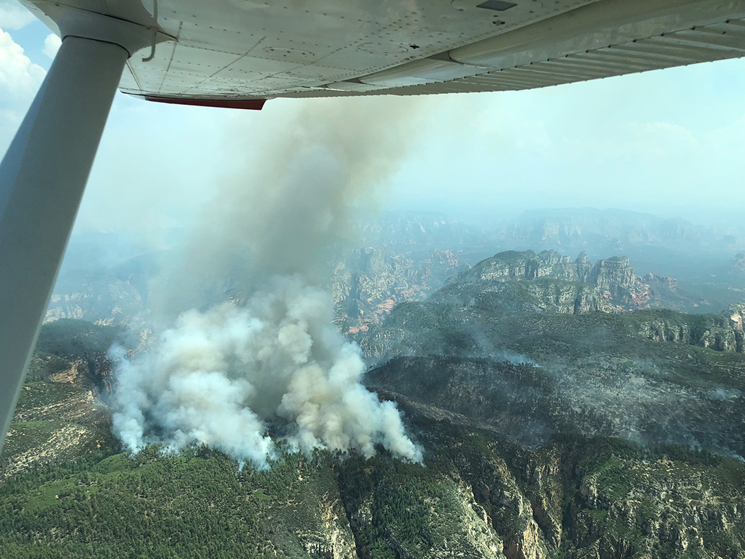 The Rhino Fire is actively burning down hill in the sun as the Platypus Fire smolders in the shade Wednesday. This picture was taken during a fixed-wing reconnaissance flight today. USDA Forest Service photo.