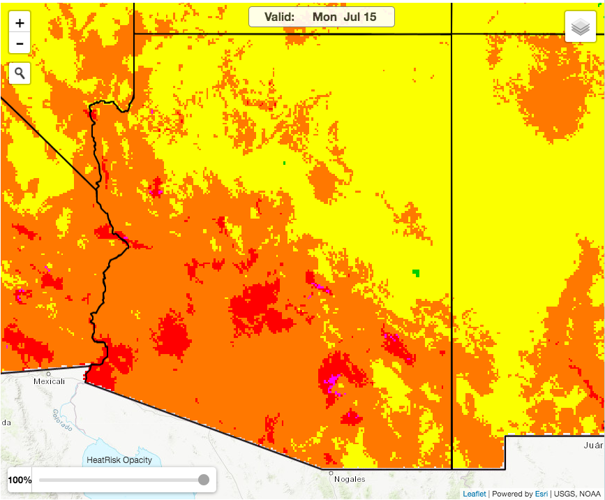 The image shows the Heat Risk Map for July 15. The map is produced by the National Weather Service.