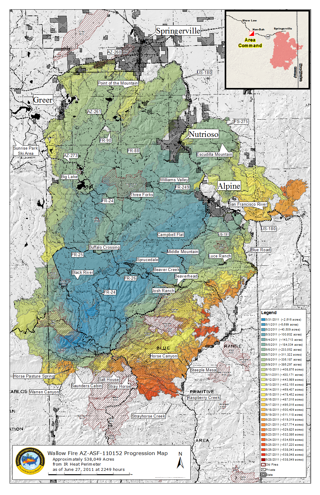 Wallow Fire progression map from June 28, 2011