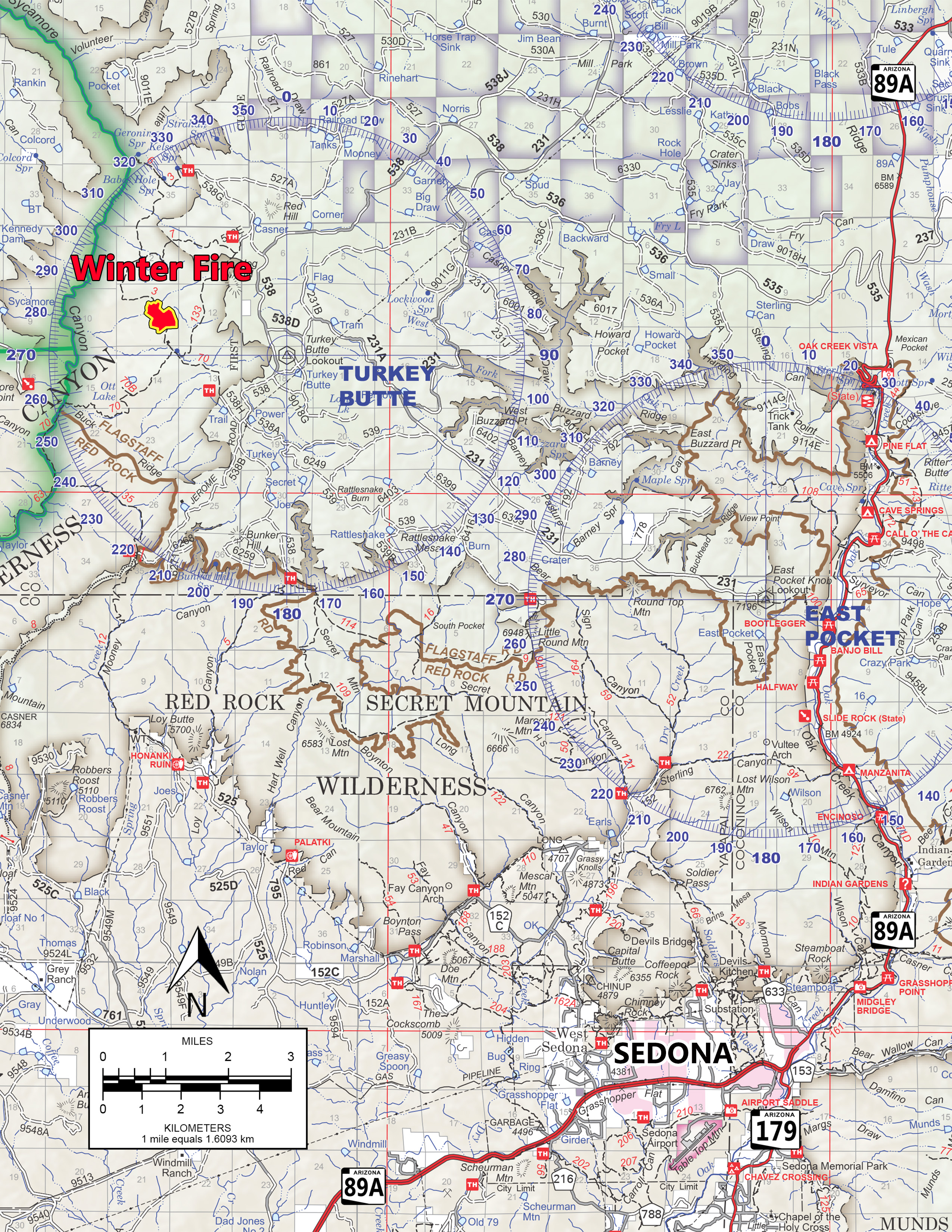 The Winter Fire, located in the Sycamore Canyon Wilderness approximately 15 miles northwest of Sedona, is currently 65 acres and approximately 75 percent contained.